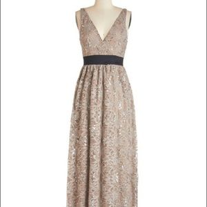 Taupe Sparkly Floor-Length Gown from ModCloth